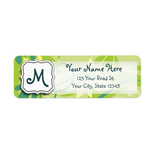 Abstract Swirl Floral Lime Green with Monogram Return Address Label