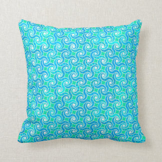 Abstract Swirl pattern - Blue, Jade green & White Throw Pillow