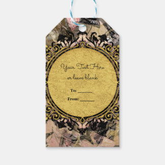 Abstract Swirl Pink Black & Gold Glam Party Favor Gift Tags