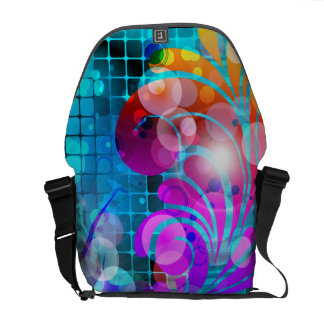 Abstract Swirl Scroll Grid Vector Graphic Courier Bag