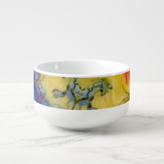 Abstract Swirled Rainbow of Colors Ice Dyed Look Soup Mug