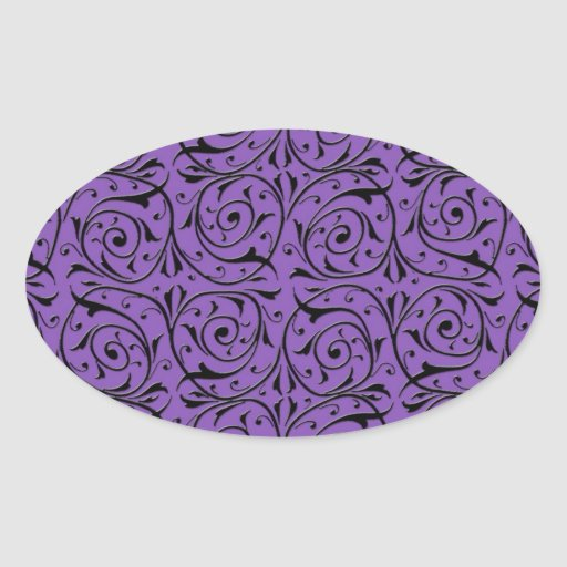 Abstract Swirling Vines Purple and Black Stickers