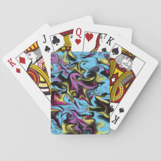 Abstract Swirls of Black Yellow Pink Blue & Purple Playing Cards