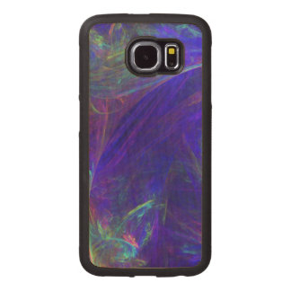 Abstract Swirls of Neon Colors on Vibrant Blue Wood Phone Case