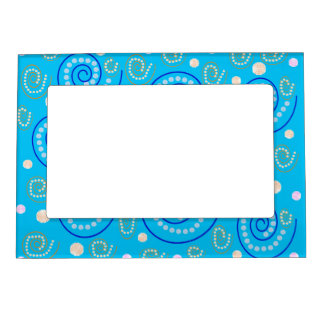 Abstract Swirls on Blue Frame Magnet