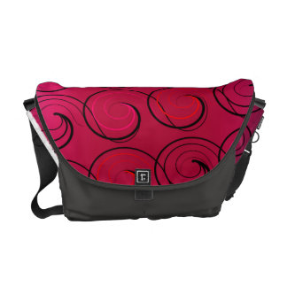 Abstract Swirls on Magenta Courier Bags