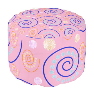 Abstract Swirls on Pink Pouf