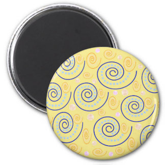 Abstract Swirls on Yellow 6 Cm Round Magnet