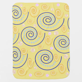 Abstract Swirls on Yellow Baby Blanket