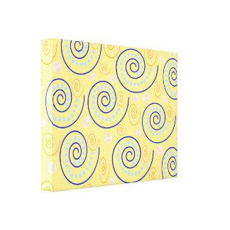 Abstract Swirls on Yellow Canvas Print