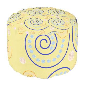 Abstract Swirls on Yellow Pouf