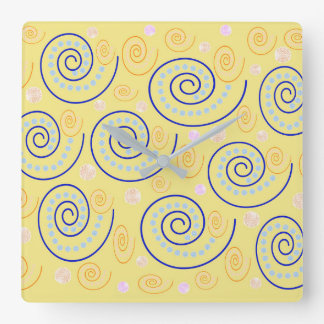 Abstract Swirls on Yellow Square Wall Clock