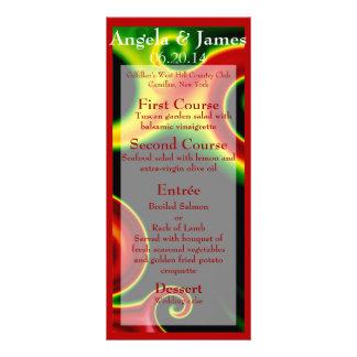 Abstract Swirls Wedding Menu Personalized Rack Card