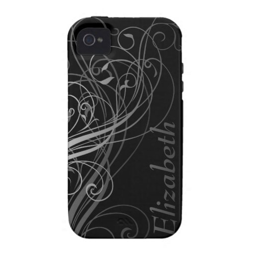 Abstract Swirls with Area for Name iPhone 4/4S Covers