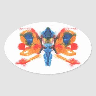 Abstract symmetric painting oval stickers