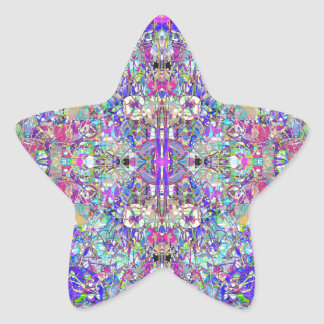 Abstract Symmetrical Colors Star Sticker