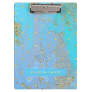 Abstract Teal Blue with Faux Gold Dots Clipboard