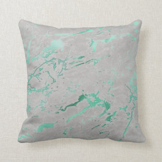 Abstract Teal Gray Aquatic Green Marble Luxury Cushion