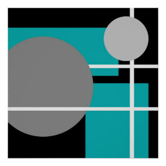 Abstract Teal Gray Black White AP0001 Poster