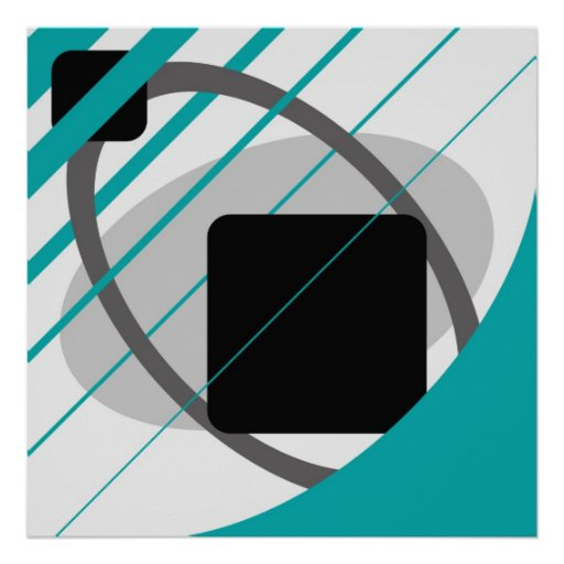 Abstract Teal Gray Off-White Black AP0002 Poster