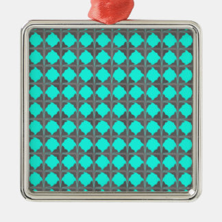 Abstract Teal Gray Quatrefoil Pattern Silver-Colored Square Decoration