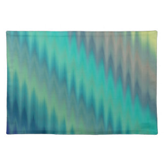 Abstract Teal Green Ikat Chevron Zigzag Cloth Placemat