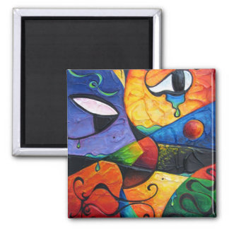 Abstract Tears Runneth Over Square Magnet