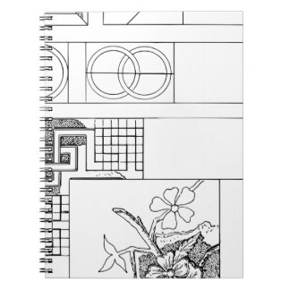 Abstract Textile Design with Flowers and Shapes Notebook