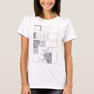 Abstract Textile Design with Flowers and Shapes T-Shirt