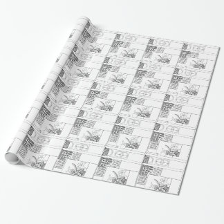 Abstract Textile Design with Flowers and Shapes Wrapping Paper