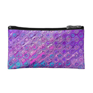 Abstract Textured Colorful Pattern Cosmetic Bag