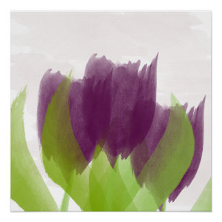 Abstract Three Purple Tulips Watercolor Art Poster