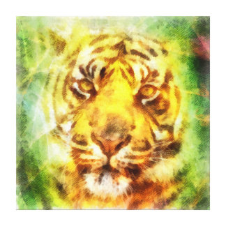 Abstract tiger head painting stretched canvas prints