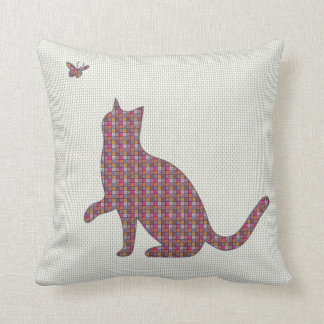 Abstract Tile Patchwork Kitty Cat kitten Butterfly Cushion