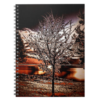 Abstract tree at the lake spiral notebook