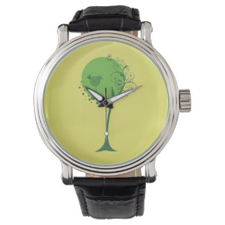 Abstract Tree Black Leather Strap Watch