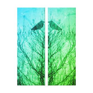 Abstract tree crow bird print blue green