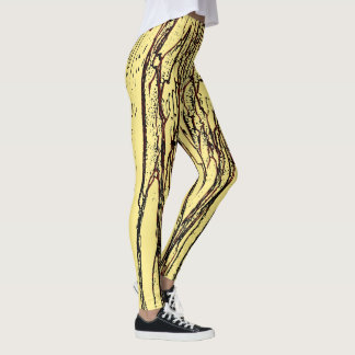 Abstract Tree Design On Pale Yellow Background Leggings