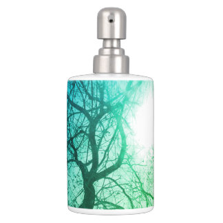 Abstract  tree   green blue bath set