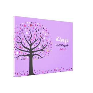 Abstract Tree of Life Bat Mitzvah Sign In Board