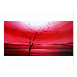 Abstract Tree Red Sky Postcard