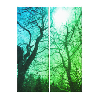Abstract tree sun black & blue green canvas