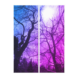 Abstract tree sun black & blue purple canvas