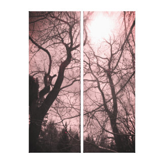 Abstract tree sun black & white pink canvas
