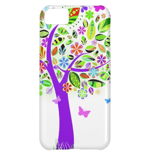 Abstract Tree with Flower Patterns iPhone 5C Cases