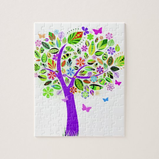 Abstract Tree with Flower Patterns Jigsaw Puzzle