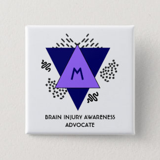 Abstract Triangles Doodles Brain Injury Awareness 15 Cm Square Badge