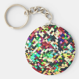 Abstract Triangles Graphic Key Ring