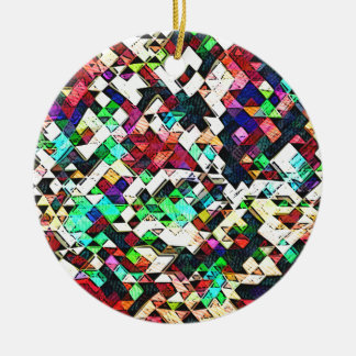 Abstract Triangles Graphic Round Ceramic Decoration