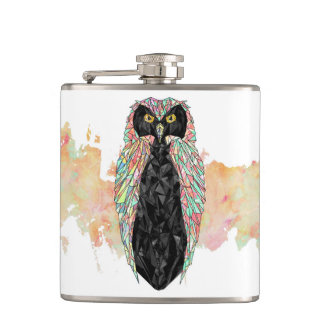 Abstract Triangular Watercolor Owl Hip Flask